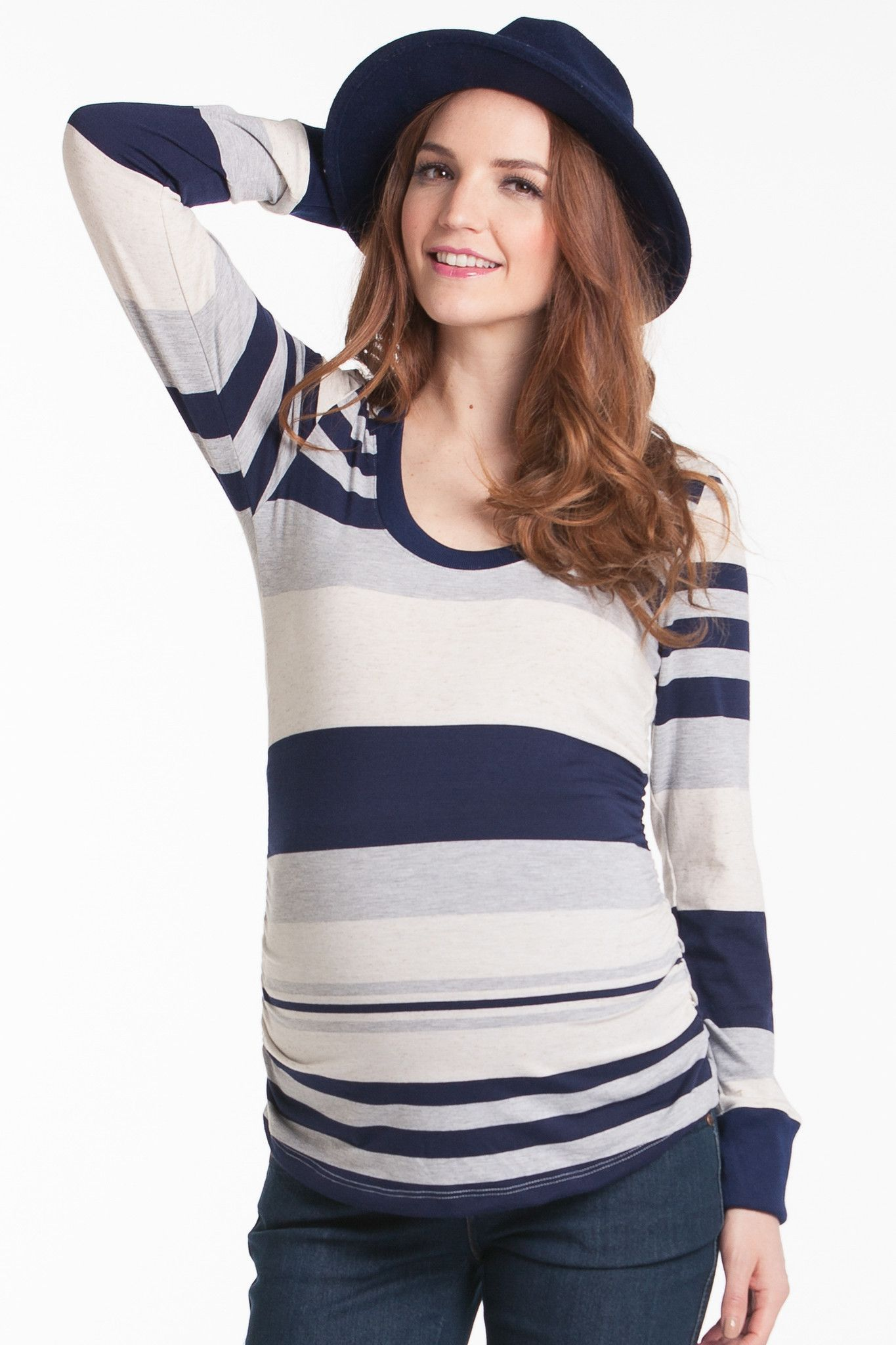 Hailey Top Navy Stripe