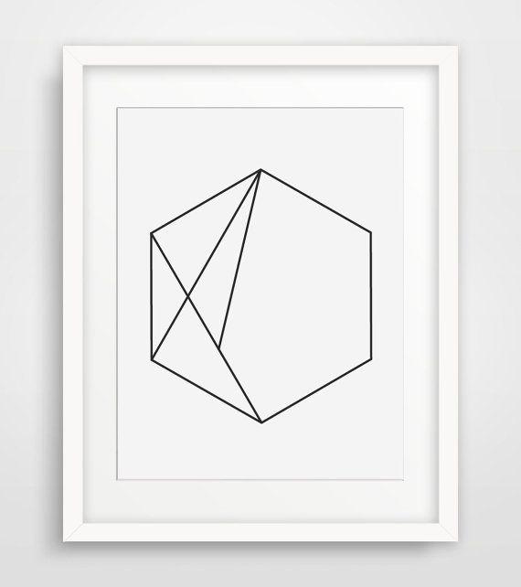 Hexagon Art Black And White Minimalist Wall Print Geometric Home Decor Modern