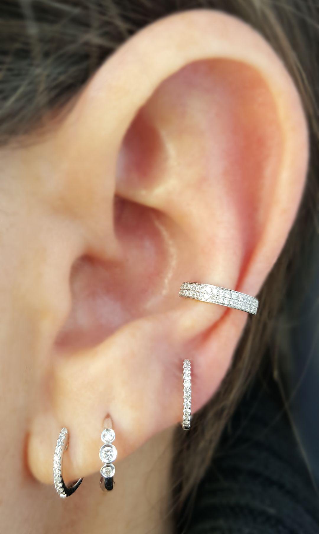 Piercing nose diamond  A White Gold and Diamond Hoop Ear Story Three Diamond Hoop with
