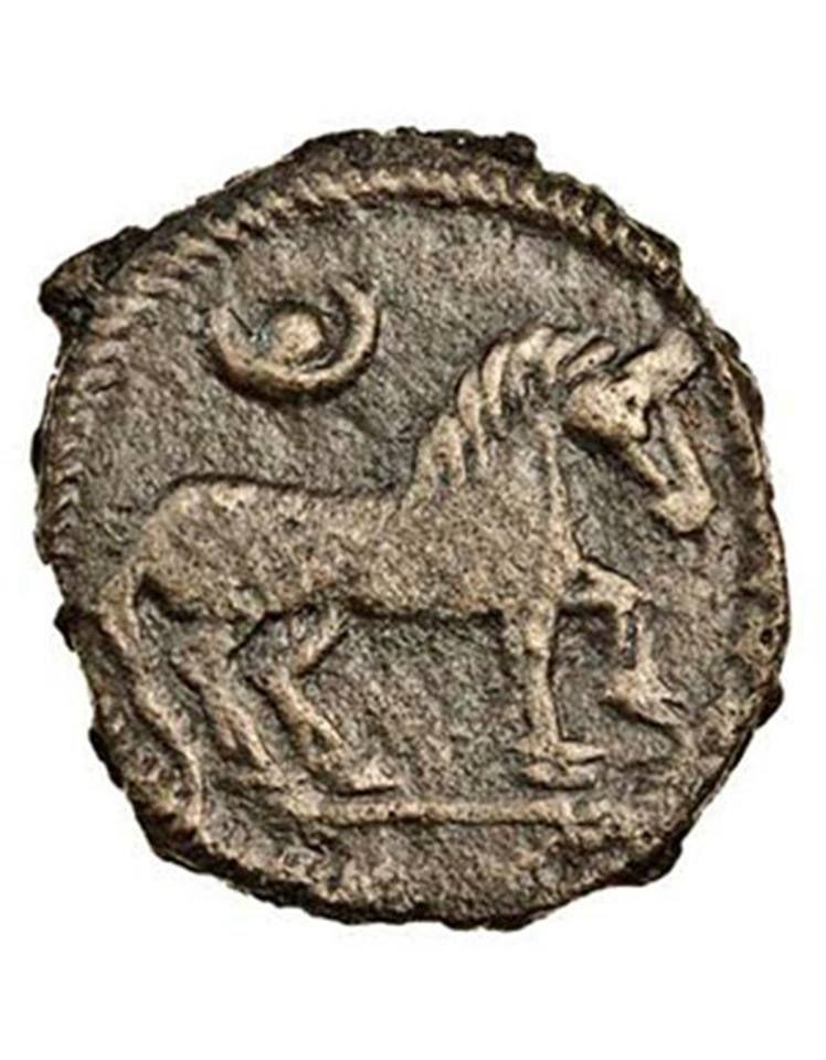Üzerinde At ve Ay-Kün Tamgası olan Göktürk Parası.