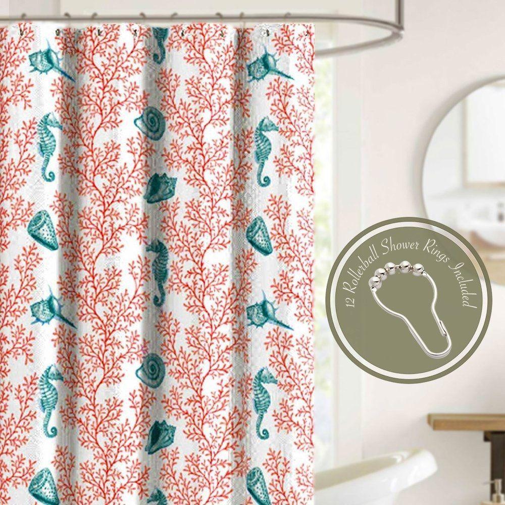 Coral Decor Beach Shower Curtains Nautical Shower Curtains