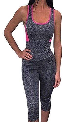 2393a4a02980d Women s Athletic Clothing Sets - Selowin Womens Active Gym Sport Fitness  Racerback Tank and MidCalf 2 Piece Tracksuit    See this great product.  (This is an ...