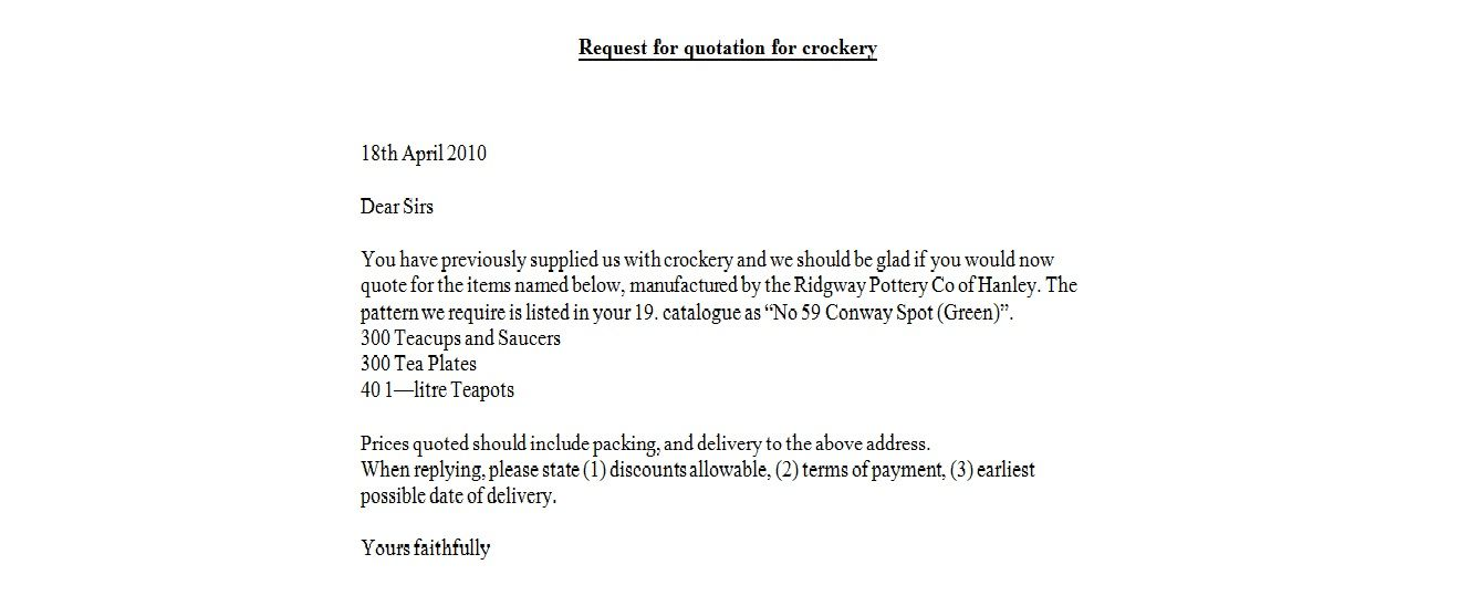 Request For Quotation Crockery Business Letter Examples Quote