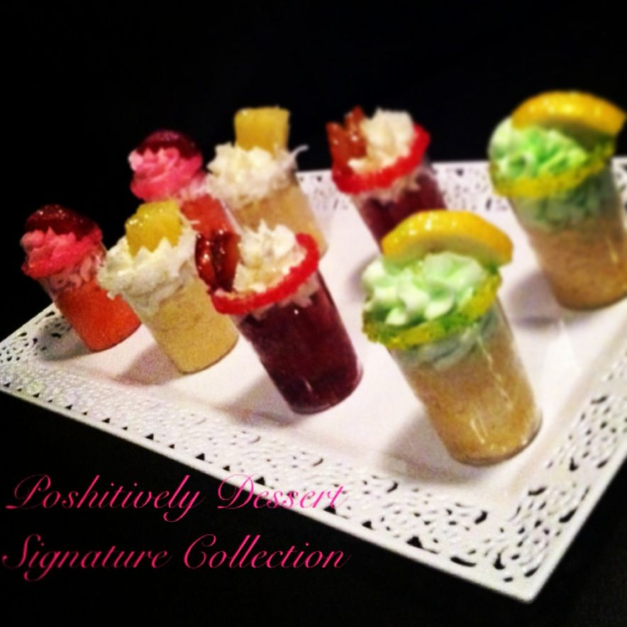 Signature Cupcake Shots! Tequila Lime, Strawberry Berry Ciroc, Red Berry Ciroc  & Cocoloso.