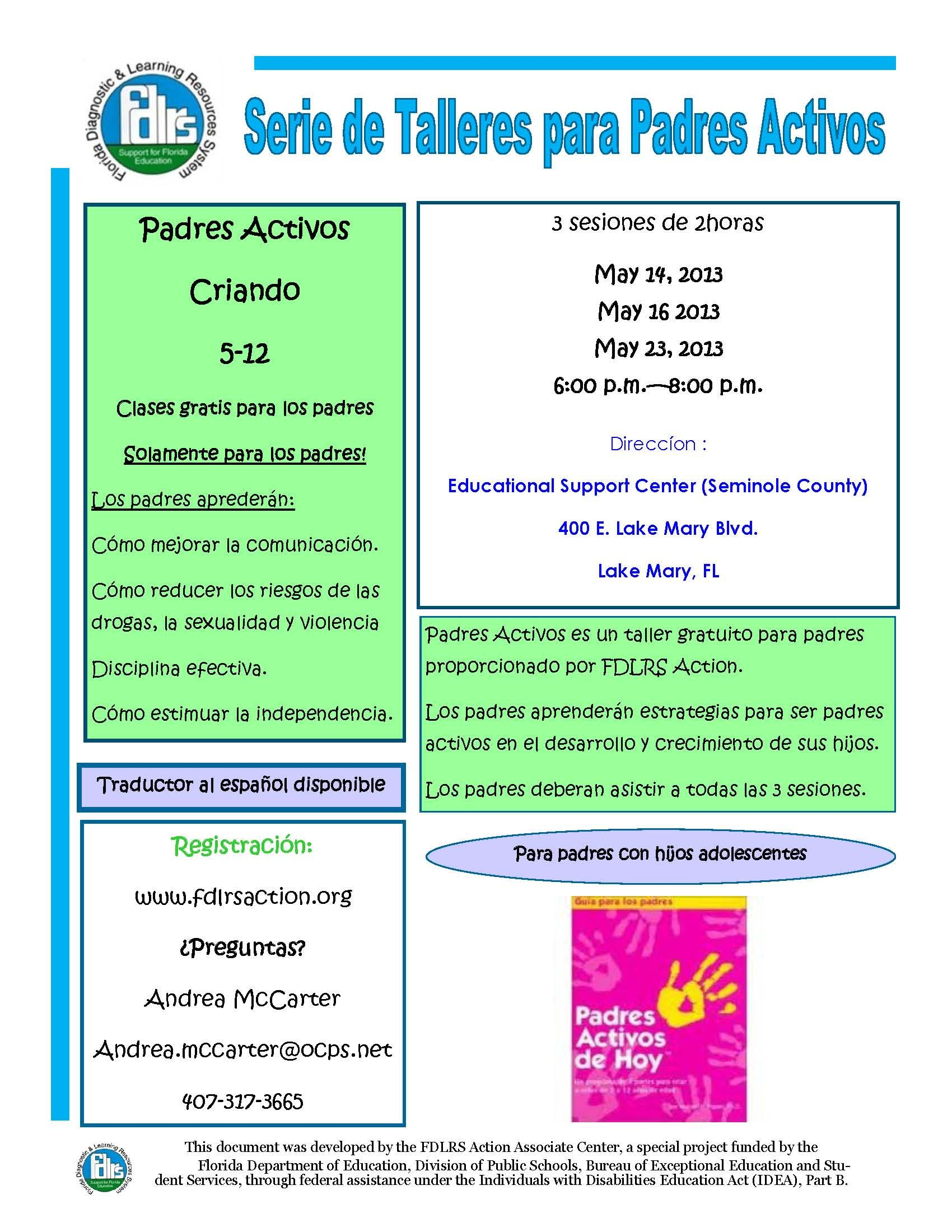 FDLRS is offering a FREE 3-part parenting workshop for parents of children ages 5-12. Parents do not need to be residents of Seminole county to attend. The workshop is free and Spanish translation will be available. Child care is not being offered for this event. Registration: www.fdlrsaction.org