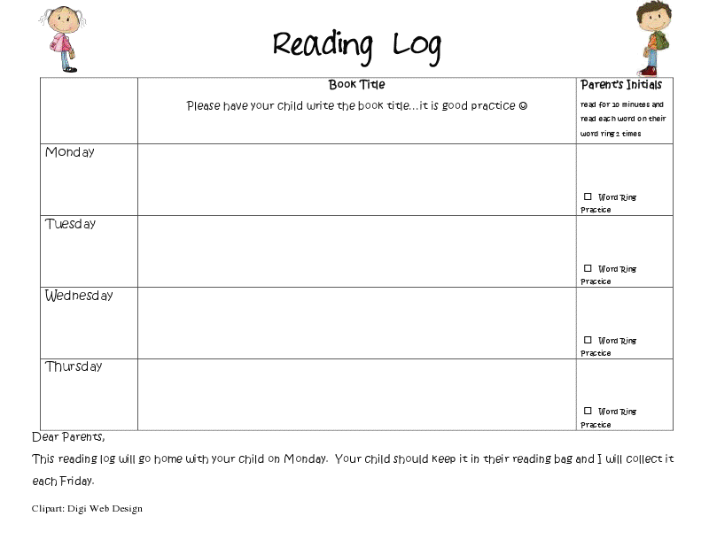 Reading Logs  Reading Logs Reading Homework And Kindergarten