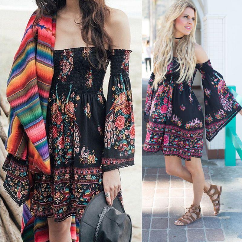 9b3efe6100 Women Summer Boho Chiffon Party Evening Beach Dresses Long Maxi Dress  Sundress Z