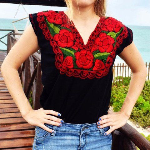 9b9f6519bda040 Mexican Floral Embroidered Top Blouse Colorful - Zina Black Red