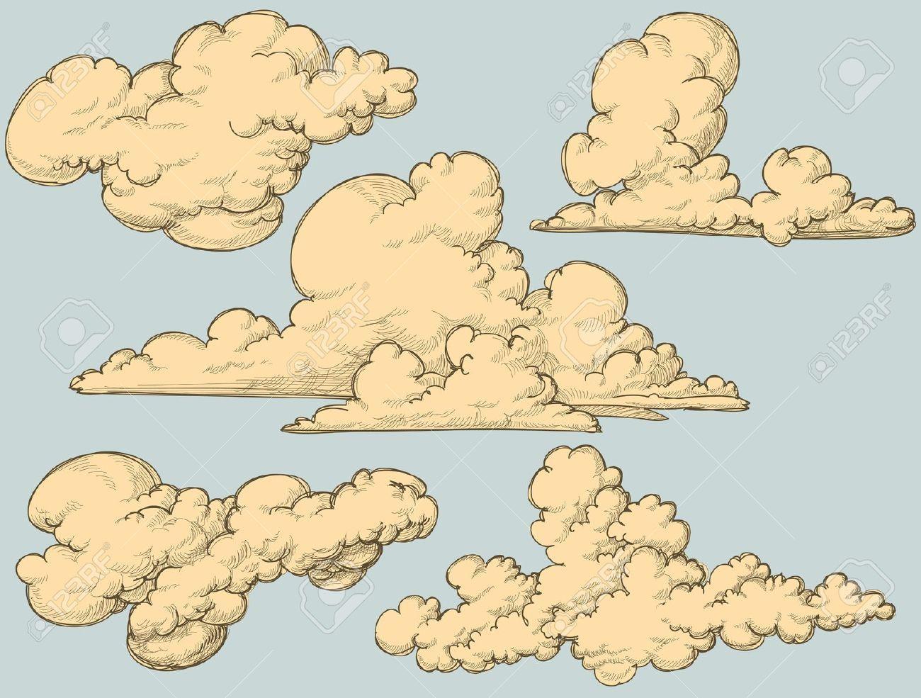 Vintage Clouds Cloud Illustration Cloud Drawing Cloud Vector