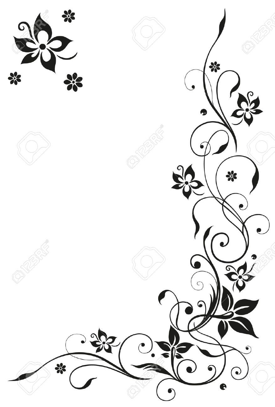 Abstract floral tendril black vector tattoos tattoos for Bordure wandtattoo