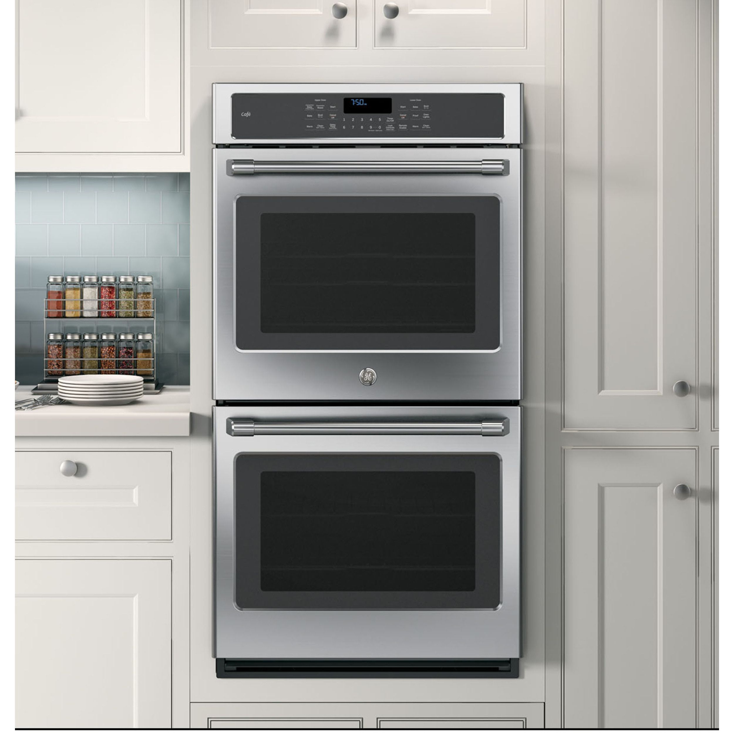 GE Cafe Series inch Double Electric Wall Oven Stainless Steel
