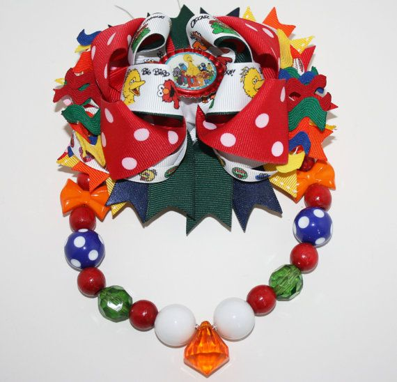 Sesame Street Chunky Necklace & Layered Bow Set with by HugABug, $26.00