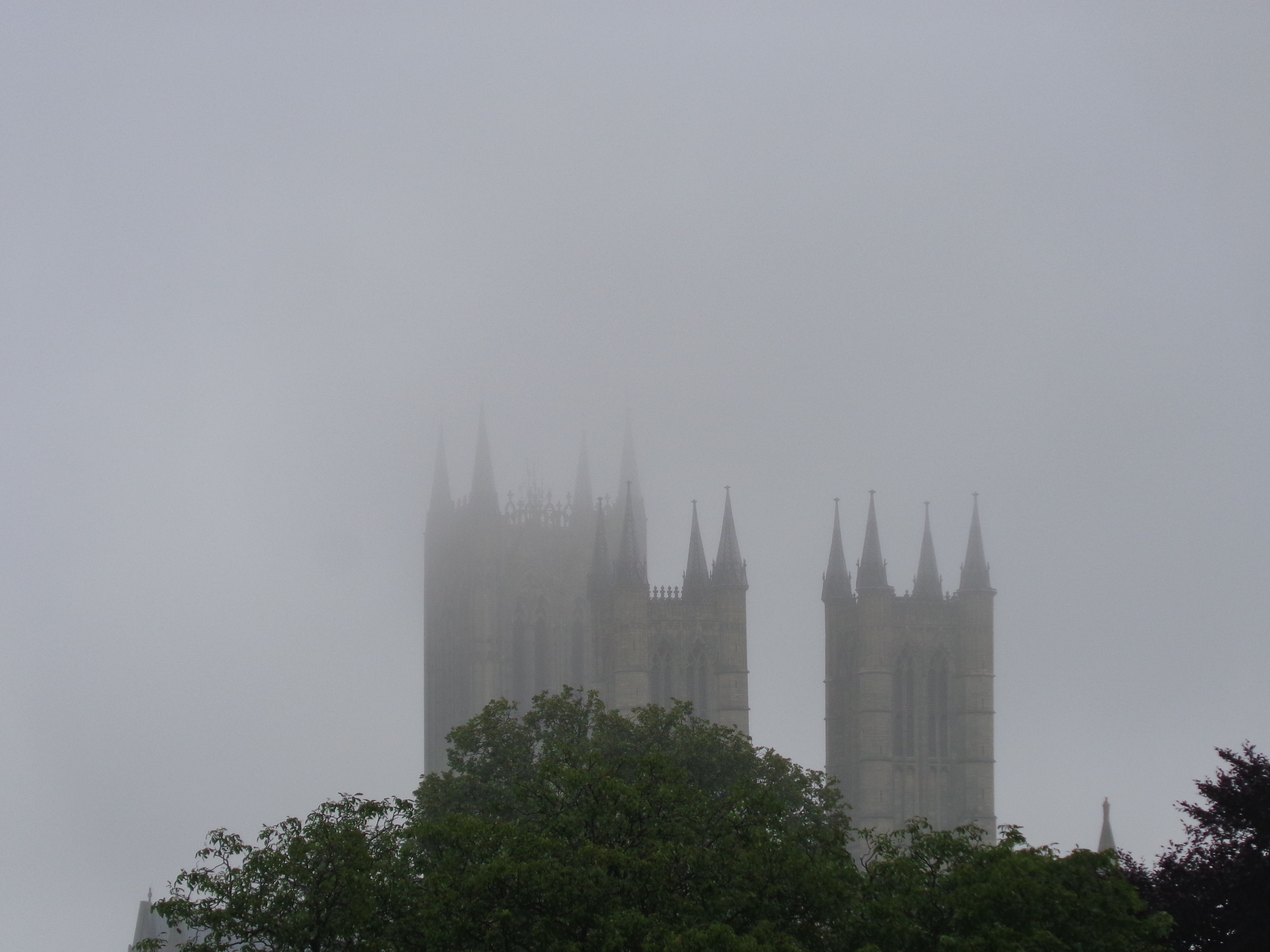 The misty spires of Lincoln Cathedral