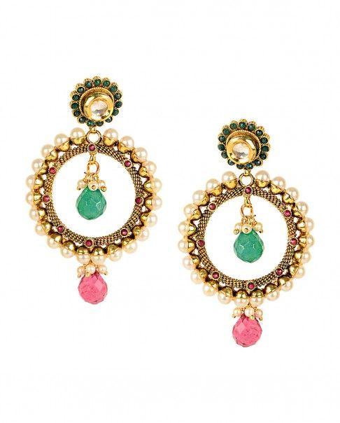 Golden Hoop Earrings with Pearls