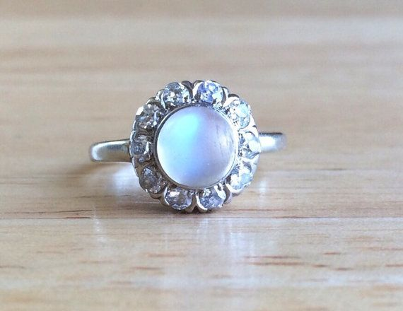Vintage 10K White Gold Moonstone Diamond Halo Ring , Size 5