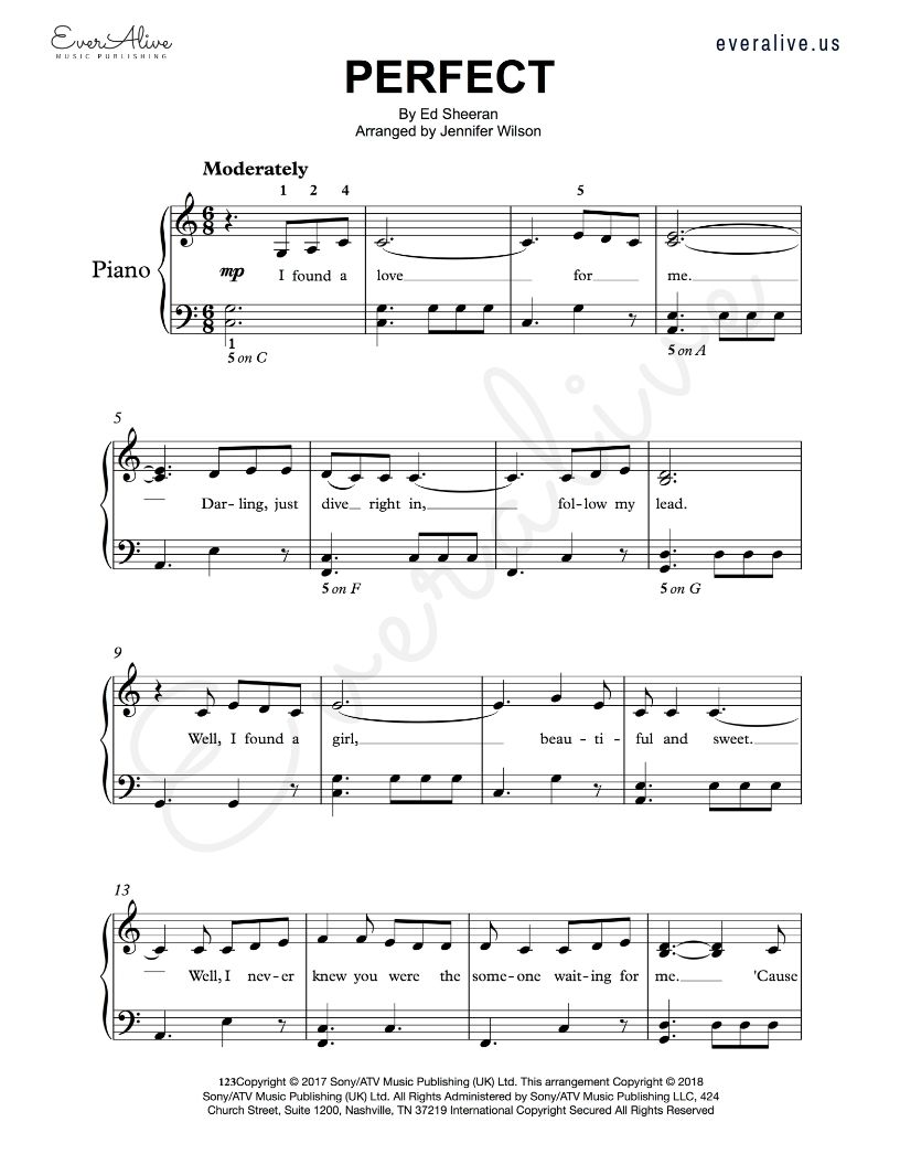 Perfect By Ed Sheeran Arranged For Intermediate Piano Perfect