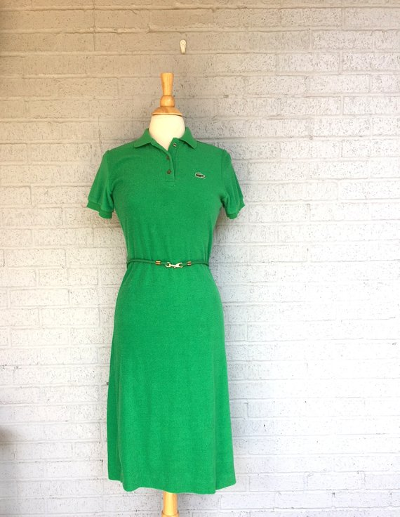 d8ba25b8ac Vintage 60s 70s LACOSTE Terry Cloth Dress With Matching BELT / David  Crystal / Kelly Green PREPPY Po