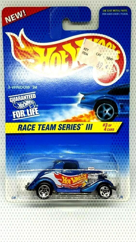 Hot Wheels – 3-Window 34 – 1997 Race Team Series Metalflake Blue 5SP Fast Ship!