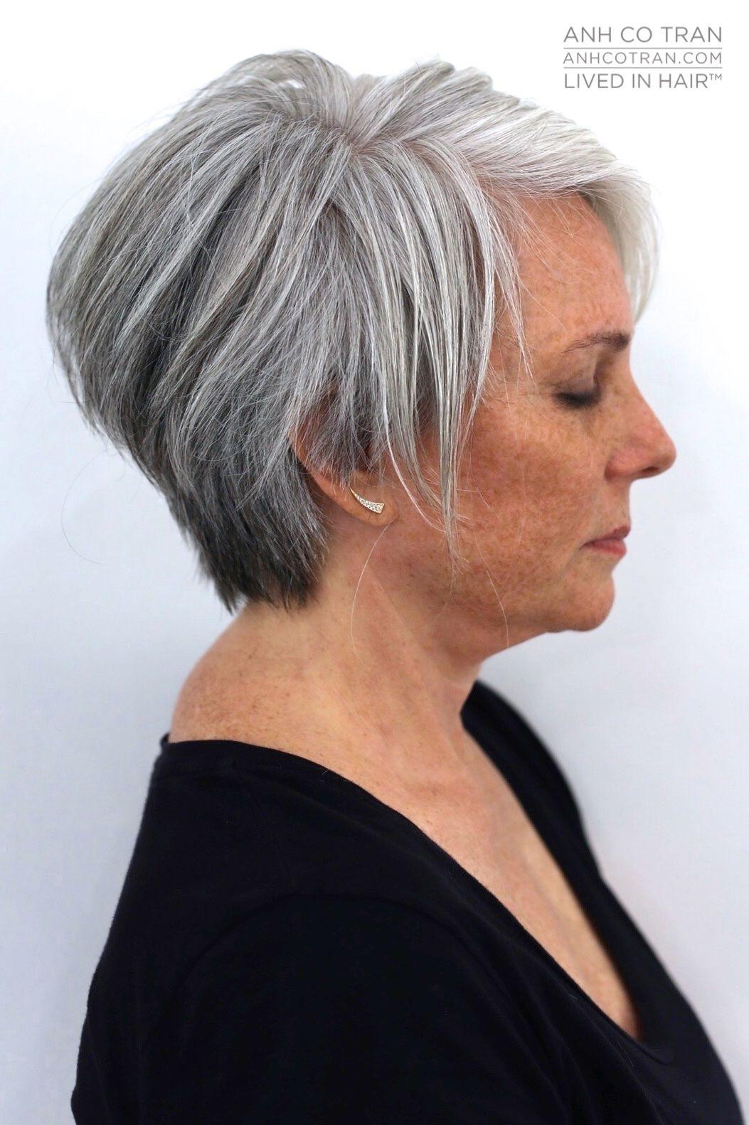 anh co tran   gray hair in 2019   short grey hair, grey hair
