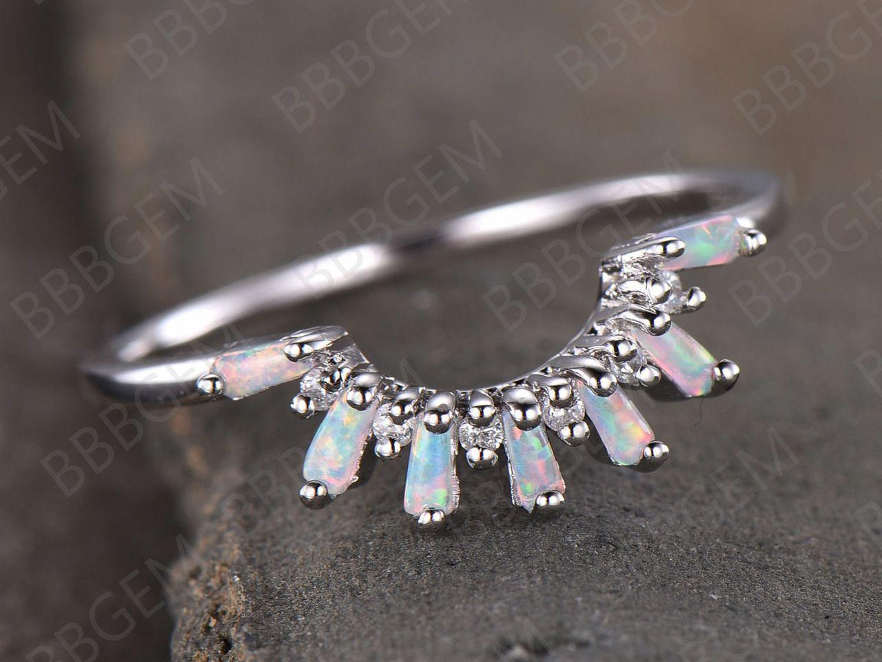 Crown Curved Opal Diamond Wedding Band 14K 18K White Gold