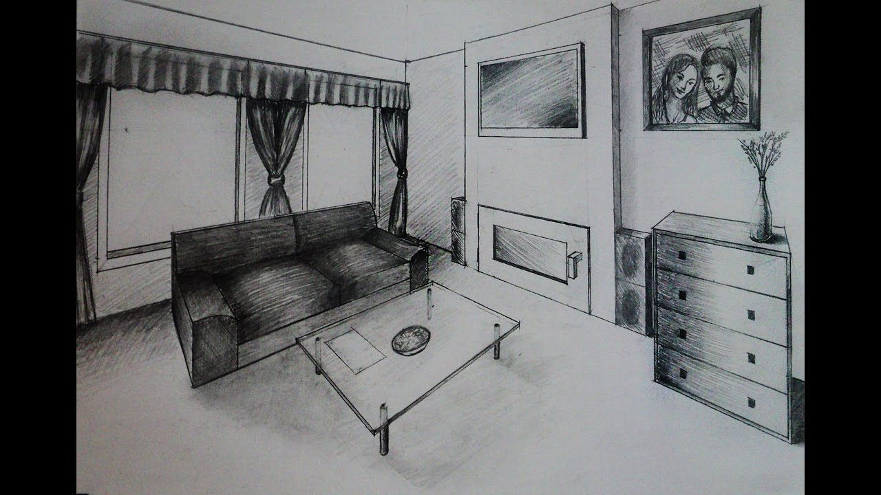 How To Draw Living Room With Fireplace Two Point Perspective