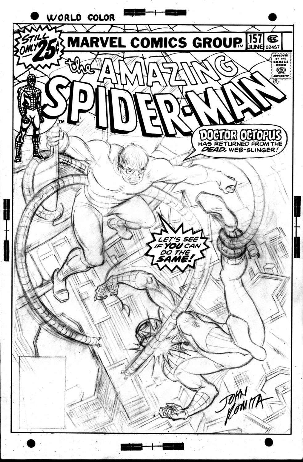 amazing spiderman 157 pencil cover by john romita spider man