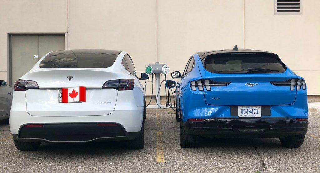 Ford Mustang Mach E And Tesla Model Y Caught Charging Together For The First Time In 2020 Tesla Model Tesla Ford Mustang