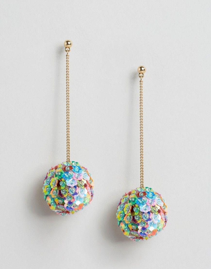asos+sequin+flower+pom+drop+earrings | jewellery | pinterest