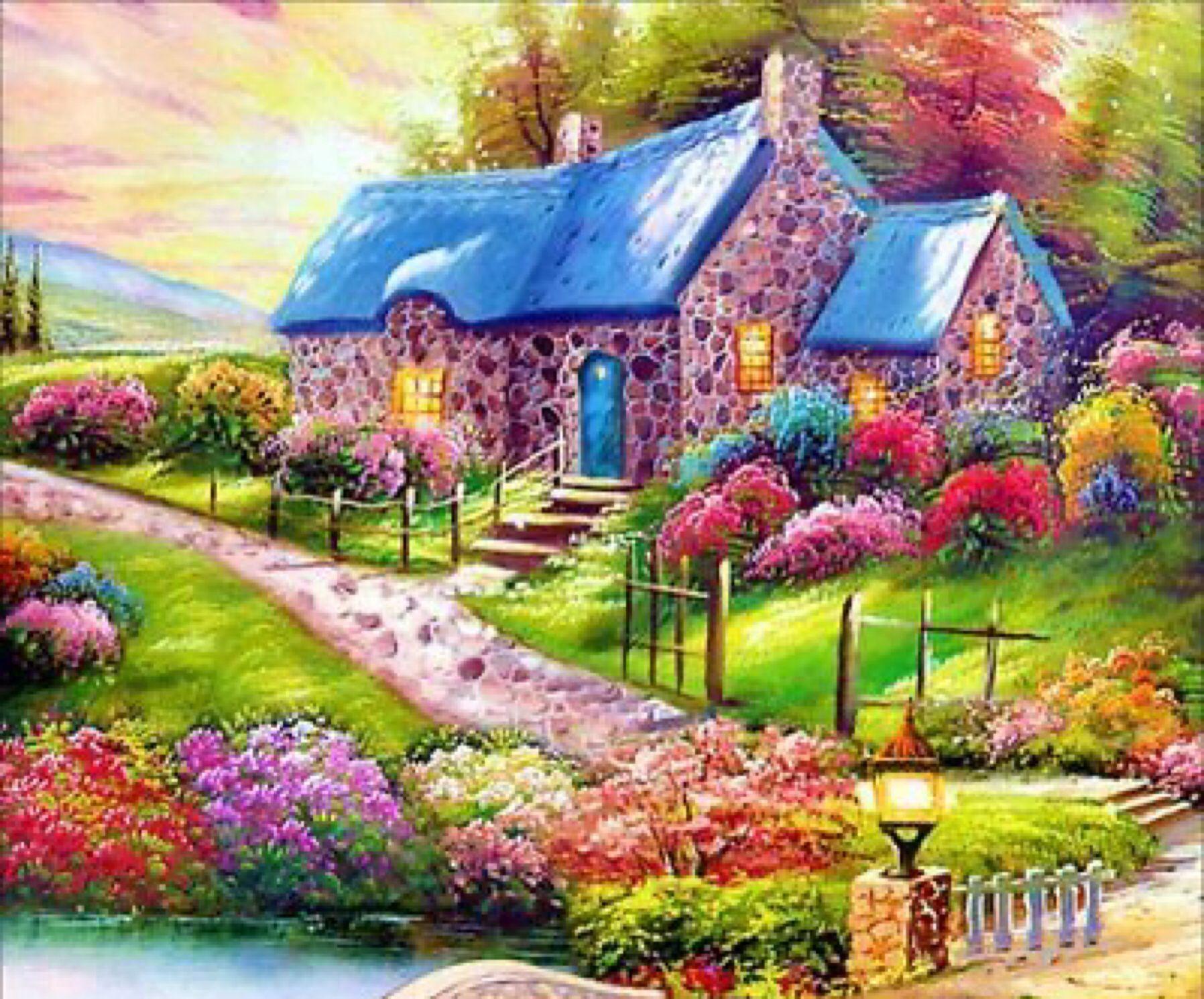 River Cottage Diamond Painting Mosaic Kit 40 x 30 cm like cross stitch