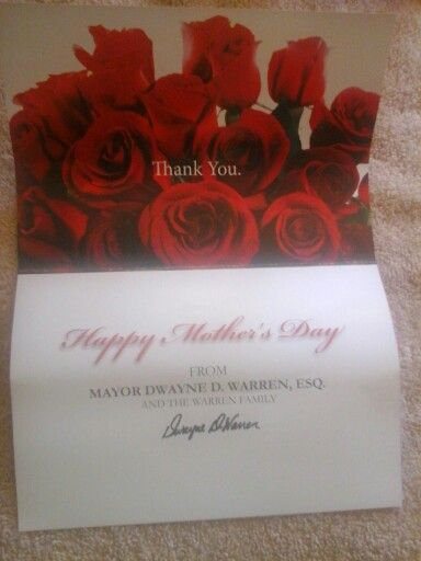 A mothets day card the mayor of orange ,sent the seniors for mothets day