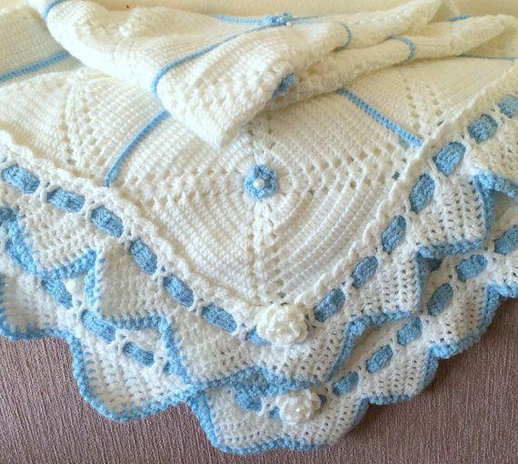 Newborn crochet blanket  Blanket for babies by SandrasShopHandmade, $65.00
