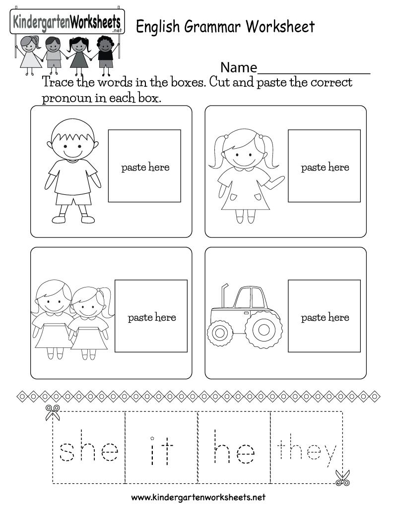 Kindergarten English Grammar Worksheet Printable Reading