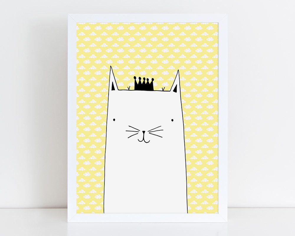 cat poster for kids printable baby poster animal pictures for kids digital art