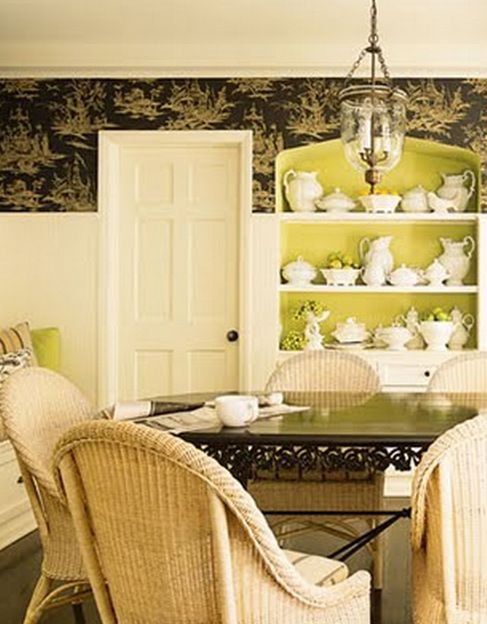 Adding some color and pattern to this country style dining room gets ...