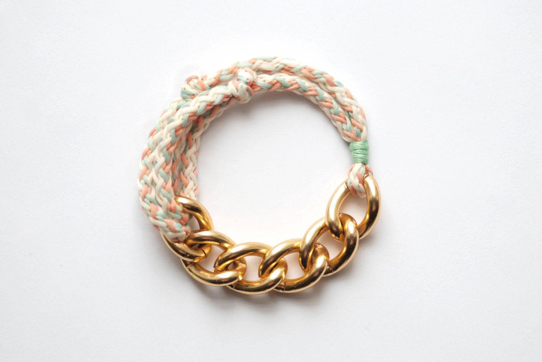 Bon Voyage Rope Bracelet  Mint & Corral by sarahacameron on Etsy, $20.00