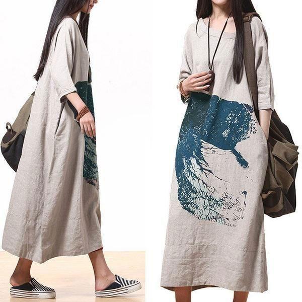 a5026cfc319 Cotton linen loose print maxi dress - Buykud