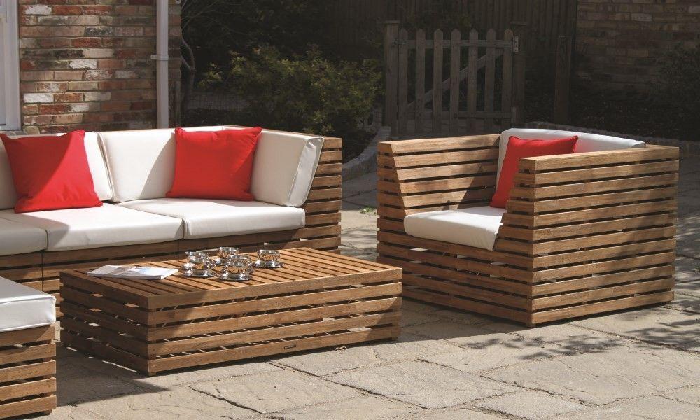 westminster venetian teak garden sofa modular set with deep cushions for outdoor use