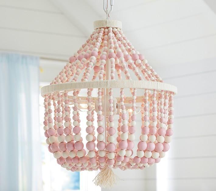 Dahlia Pink Wooden Beads Chandelier
