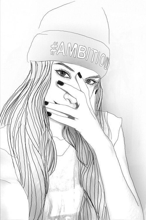 doping, swag Pencil Drawings, Girl Drawings, Tumblr Outline Drawings,  Tumblr Girl Drawing