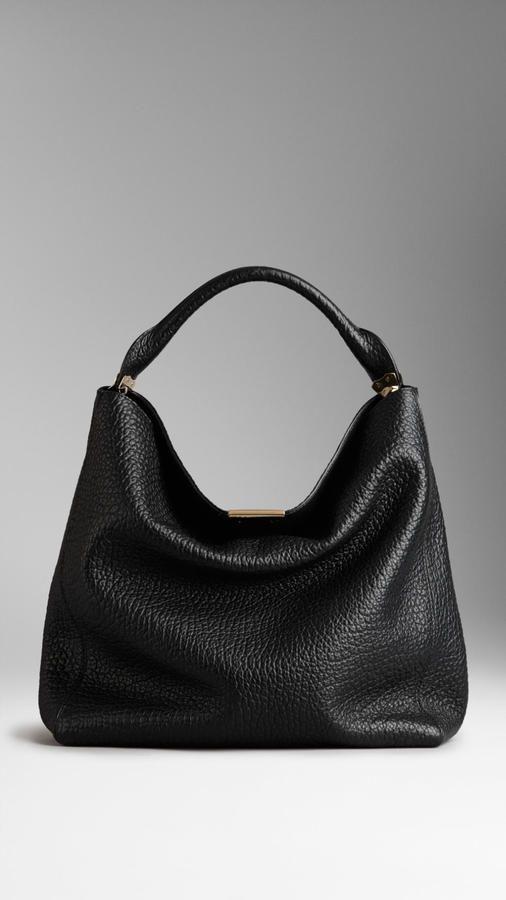 Burberry Medium Signature Grain Leather Hobo Bag Kimludcom Bags Burberry Handbags Leather Bag