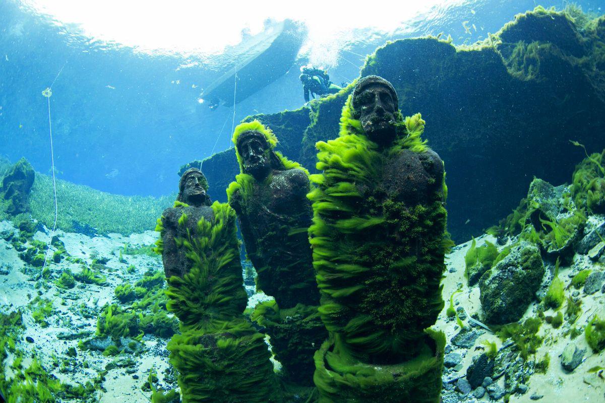 Las estatuas Eye Spy (Ojo espía), cubiertas de alga luego de años ...