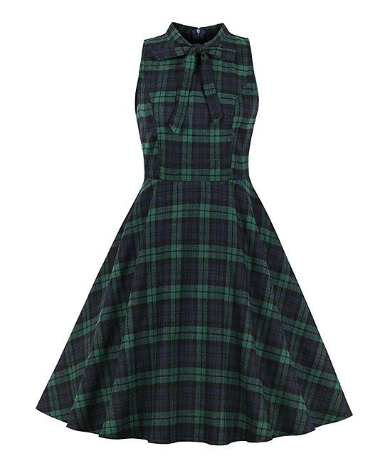04ce05327a74a Sucrefas | Green & Navy Plaid Tea-Length Vintage Fit & Flare Dress ...