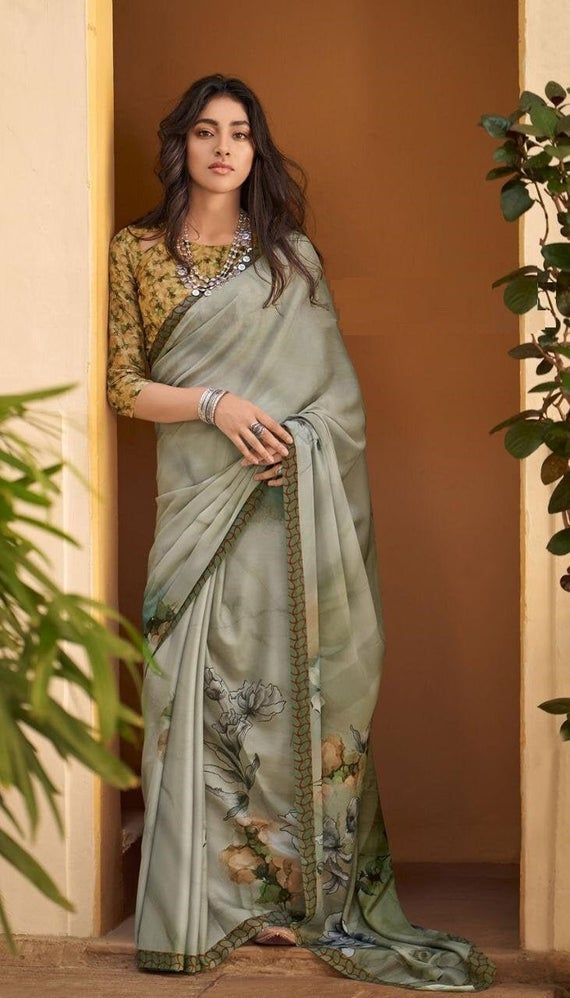 Blue Soft Silk Saree with Blouse Printed Designer Blouse Sari Bridesmaid Gift Occasional Wear Party Wedding Sari With Blouse