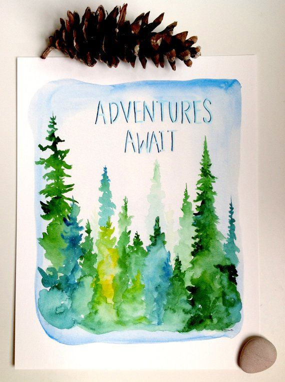 338975dd74c Adventures Await - Watercolor Forest Print - pine trees