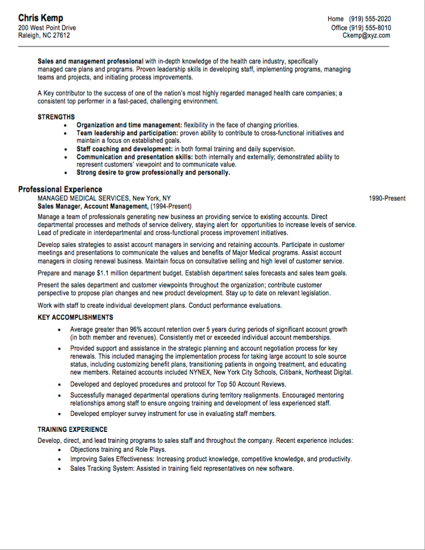 Sales Manager Resume Pdf Sales resume examples, Medical