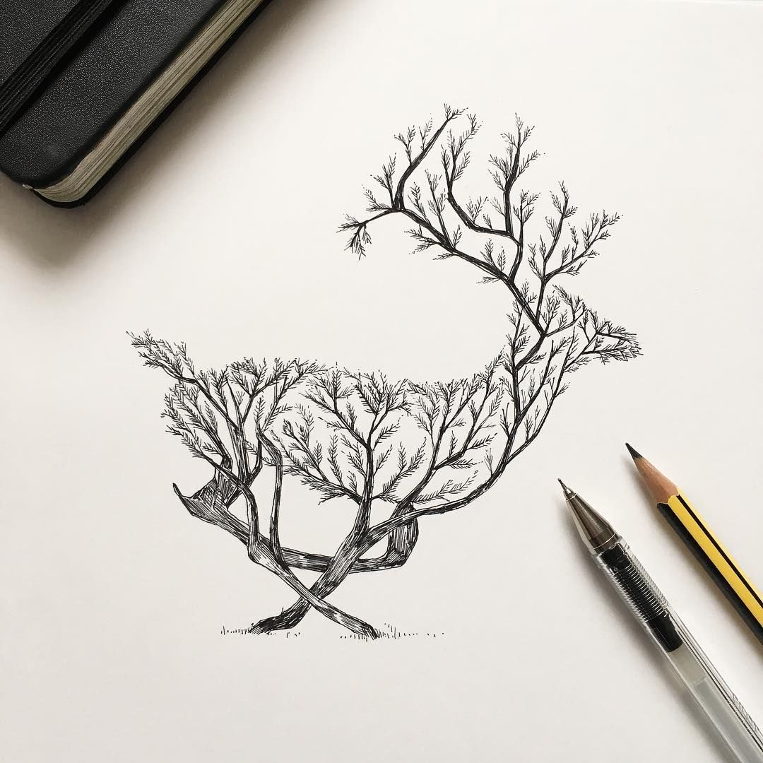 In his latest series of illustrations alfred basha depicts a series of images where animals merge with the natural world trees sprout into the silhouettes