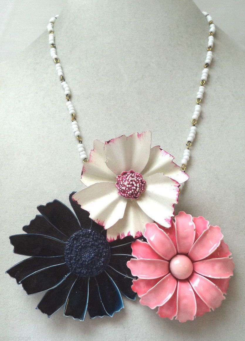 "Stunning Vintage Estate OOAK One of A Kind Enamel Flower Necklace | eBay    The necklace measures approx 23"" in length, and the pendant is 5"" wide. This OOAK creation is hand crafted/created from pieces of broken vintage and modern jewelry."