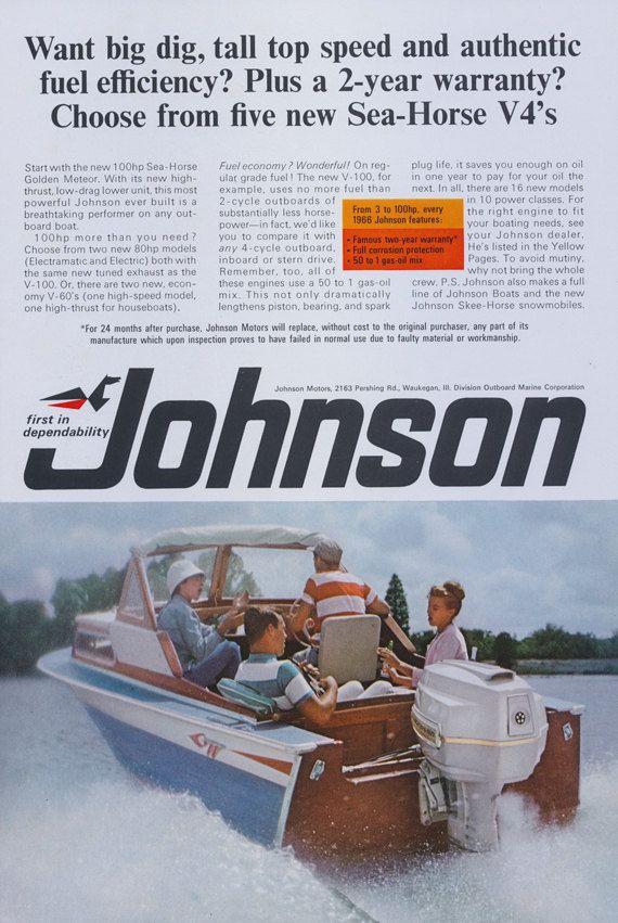 1966 Johnson 100 hp Sea-Horse Golden Meteor Outboard Boat