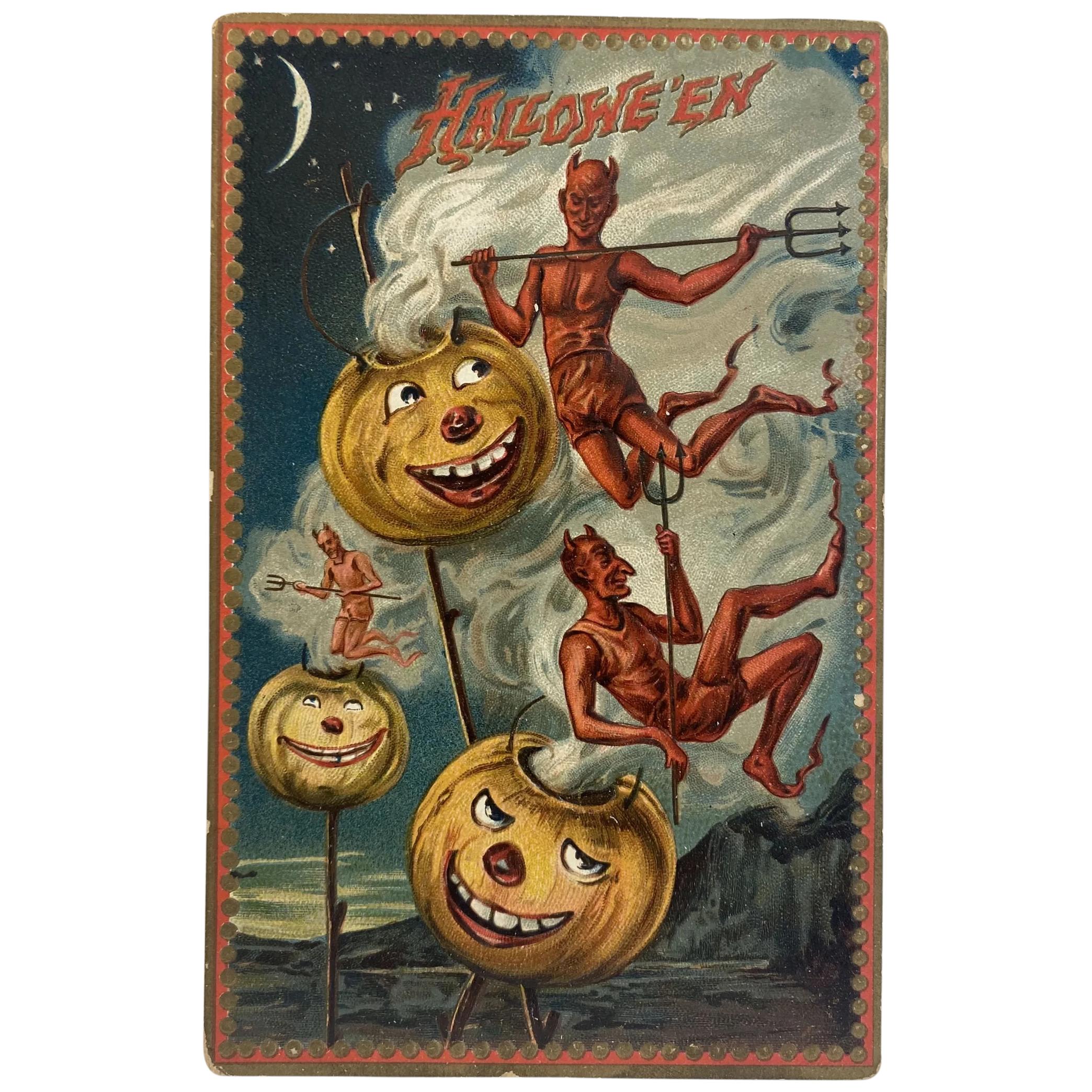 Halloween 2020 Steaming 1909 Tuck's Hallowe'en Postcard Series 160 Devils Pitchforks
