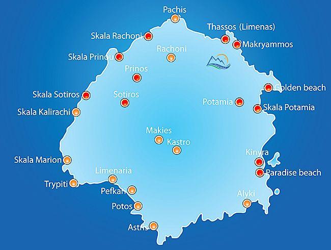 Insula Thassos De La Nord La Sud Insule Grecia Hartă